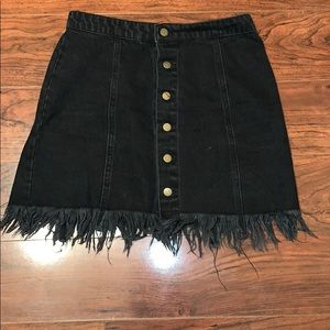 Black fringe button up skirt